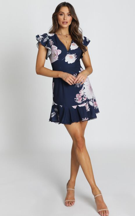 Row Of Daisies Dress In Navy Floral