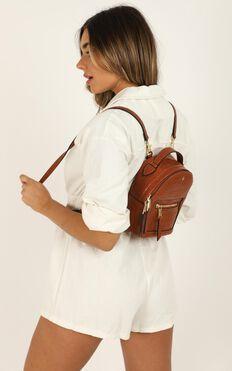 Peta and Jain - Zoe Mini Backpack In Tan Croc