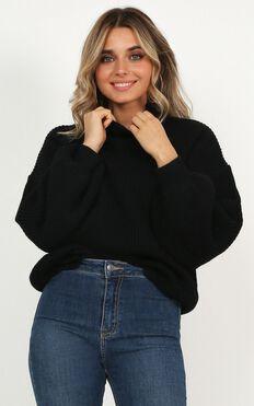I Feel Love Oversized Knit Sweater In Black
