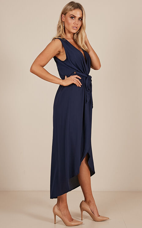 Morning To Night Dress In Navy