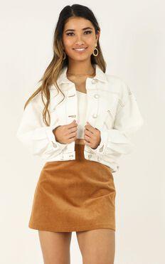 Girl Got Game Denim Jacket In White