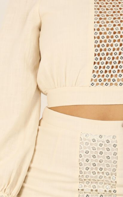 My Only Direction Two Piece Set in beige linen look - 14 (XL), Beige, hi-res image number null