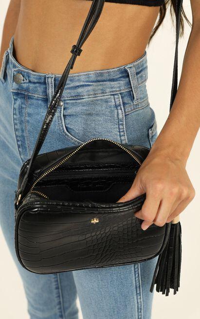 Peta and Jain - Gracie Shoulder Bag In Black Croc, , hi-res image number null