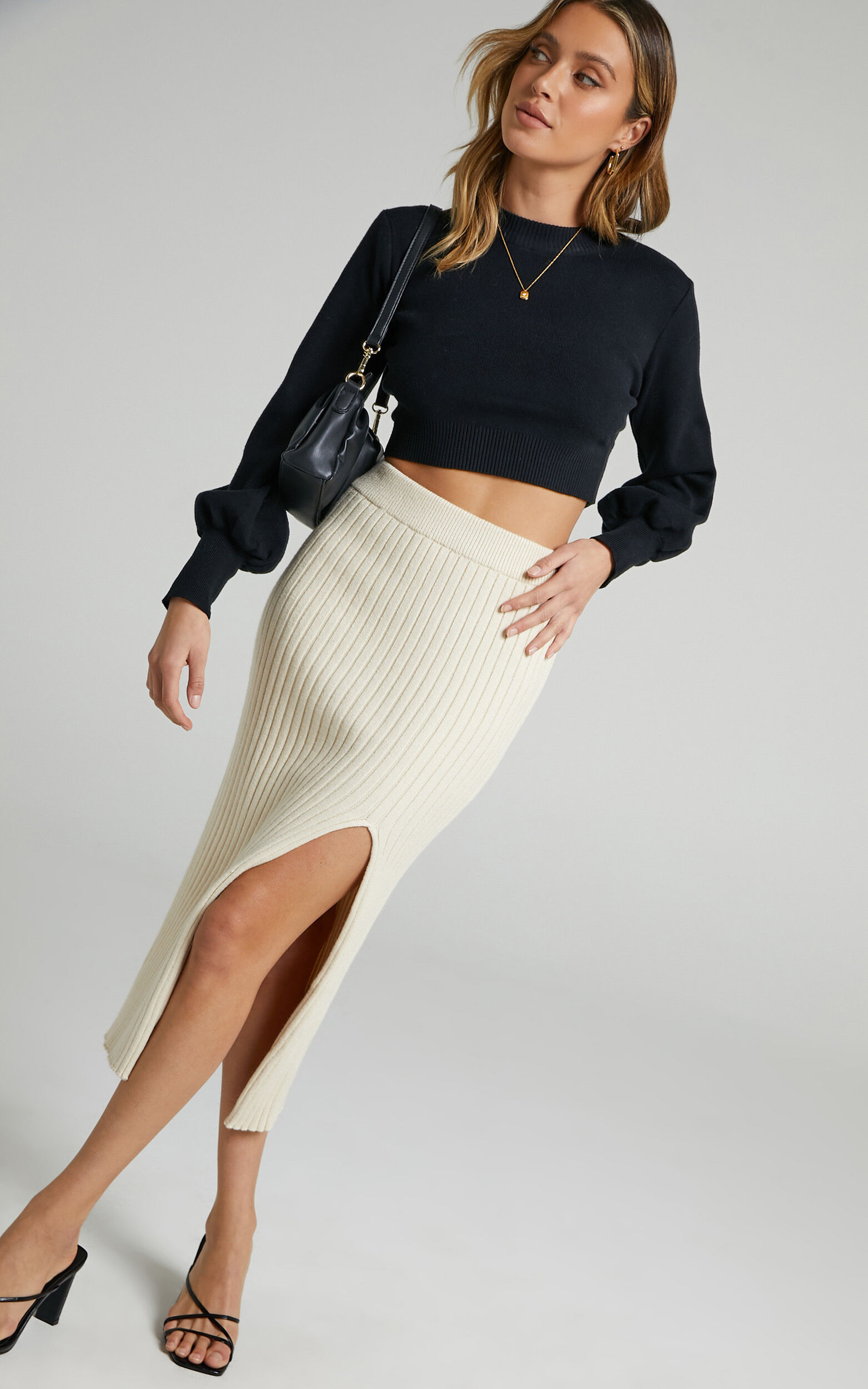 Rib Knit Midi Skirt with split in Beige - 04, BRN1, super-hi-res image number null