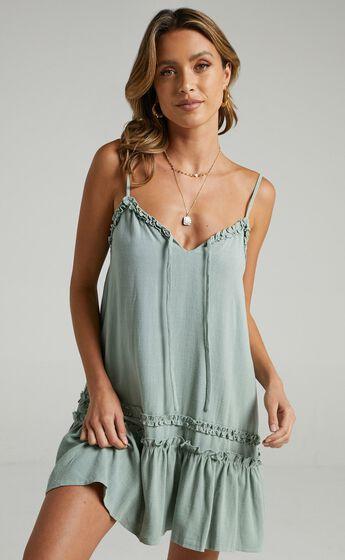 Olinda Dress in Sage Linen Look