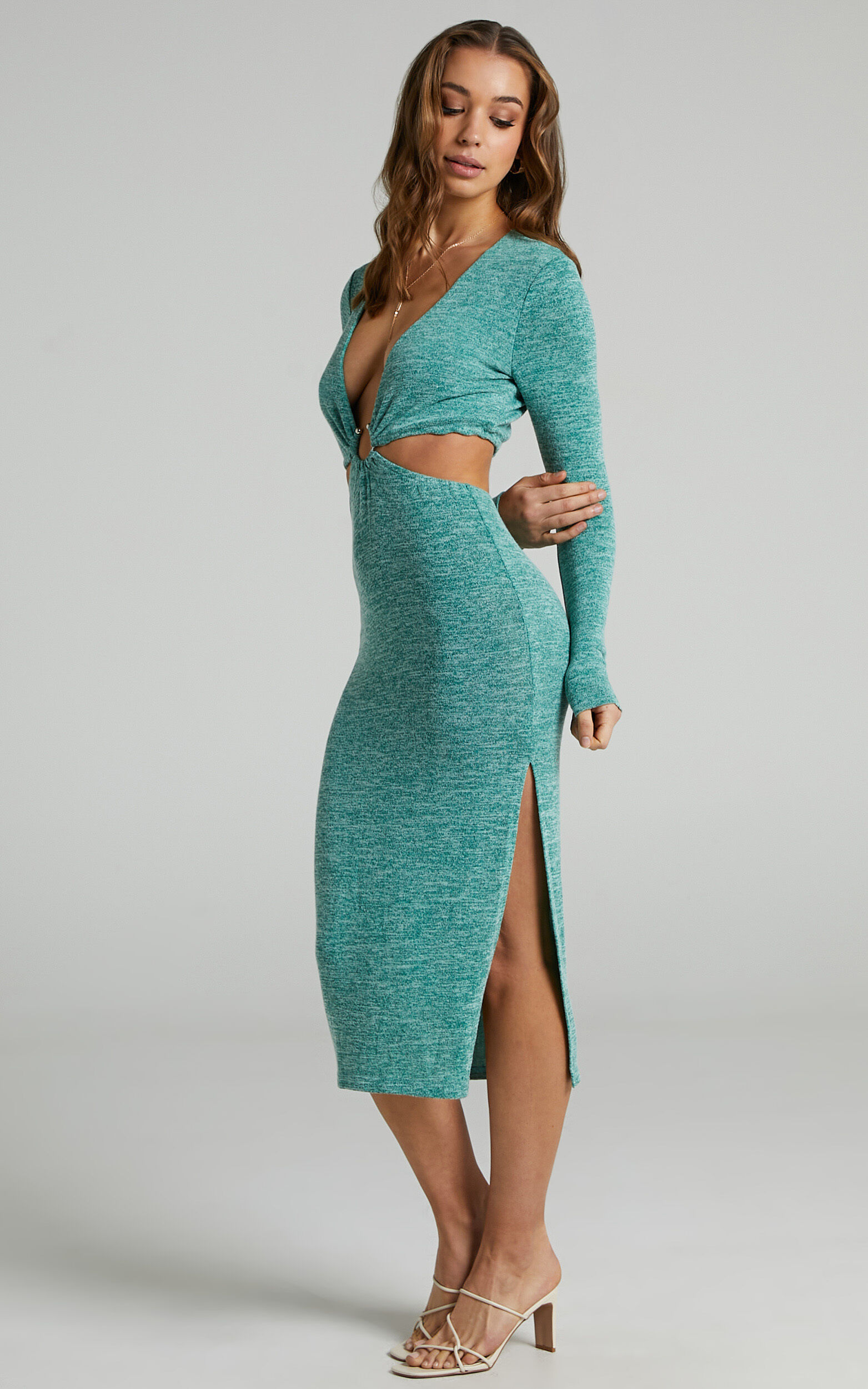 Ariah Cut Out Space Dye Midi Dress in Green Space Dye - 06, GRN1, super-hi-res image number null