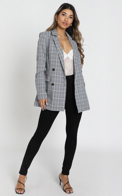 All Grown Up Blazer in Grey Check