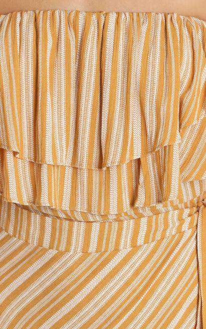 Aysha Bardot Dress in mustard stripe - 12 (L), Mustard, hi-res image number null