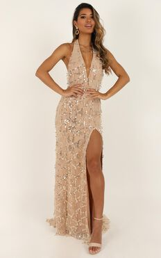 Love Dont Cost A Thing Dress In Rose Gold Sequin