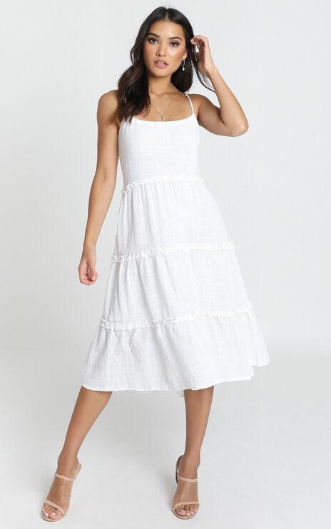 Nadia Tiered Smock Dress In White