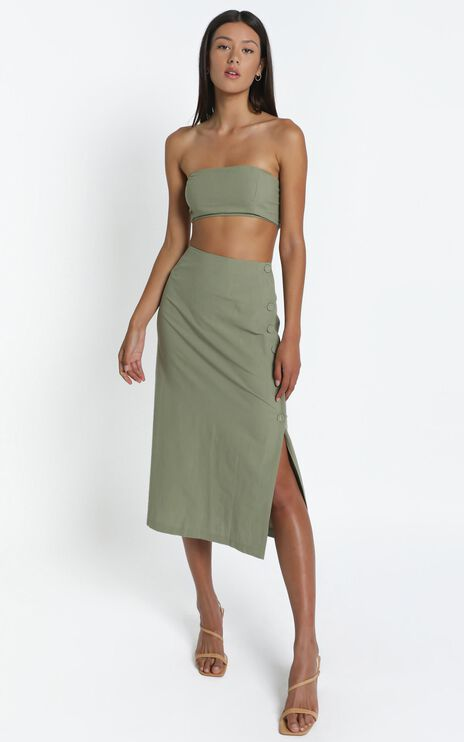 Andra Two Piece Set in Khaki