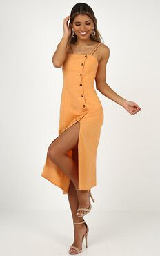 Rain On Me Dress In Sherbet Linen Look
