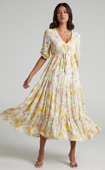 Lilibelle Dress in Linear Floral