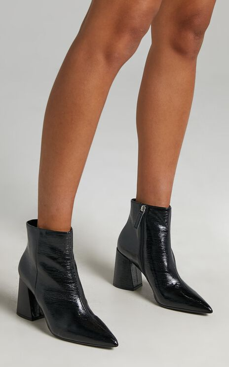 Therapy - Cleo Boots in Black Crinkle Patent