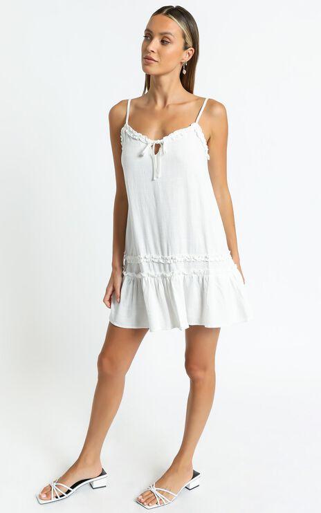 Olinda Dress in White Linen Look