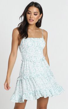 Felicia Shirred Waist Mini Dress In Sage Floral