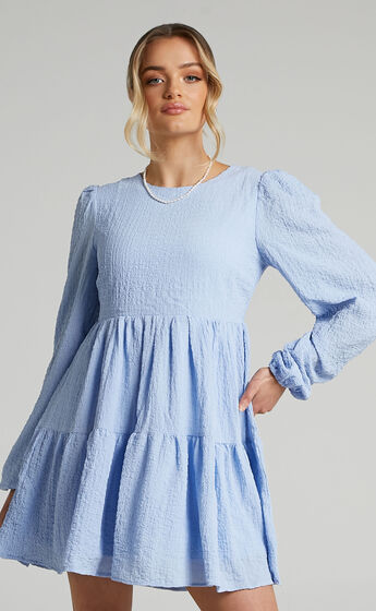 Marney Long Sleeve Tiered Shift Dress in Blue