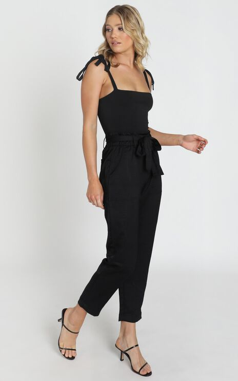 Harper Matt Satin Look Pants In Black