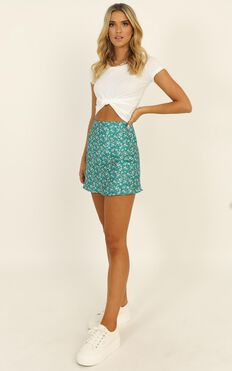 Puzzle Pieces Skirt In Green Floral