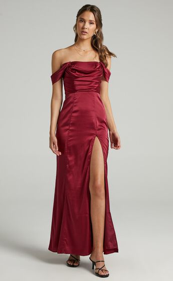 Faye Off the Shoulder Maxi Dress in Wine Satin