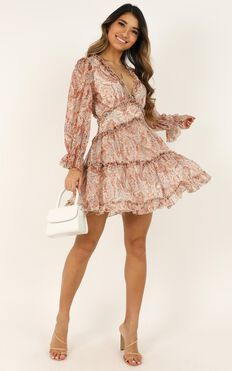 The Golden Age Dress In rust paisley