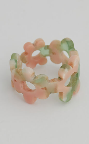Trixie Flower Ring in Green Multi