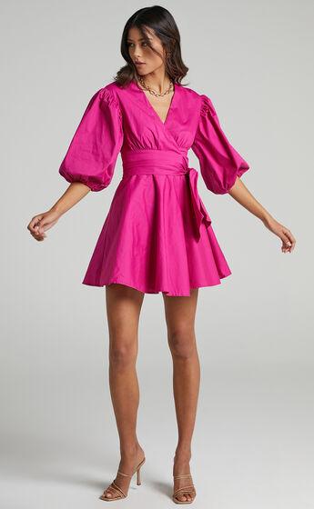 Zyla Puff Sleeve Wrap Mini Dress in Berry
