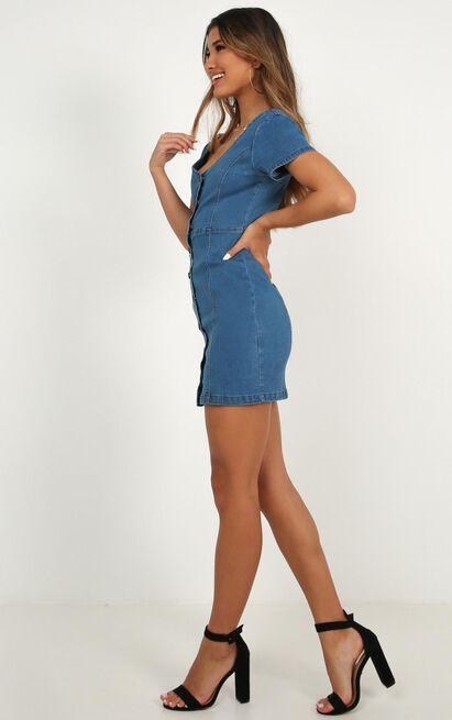 I Know you Care Denim Dress in light wash - 8 (S), Blue, hi-res image number null
