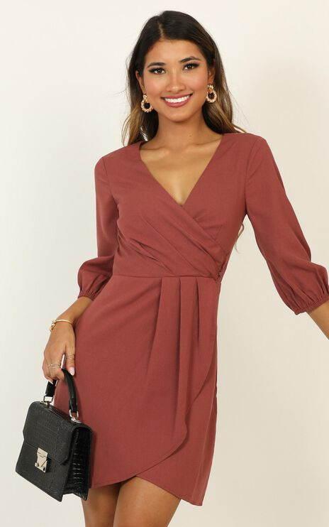 Talking Back Dress In Dusty Rose