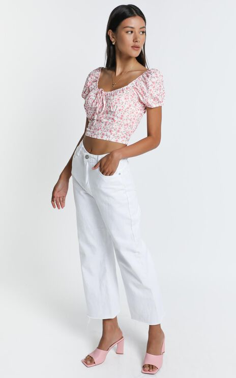 Bates Top in White Floral