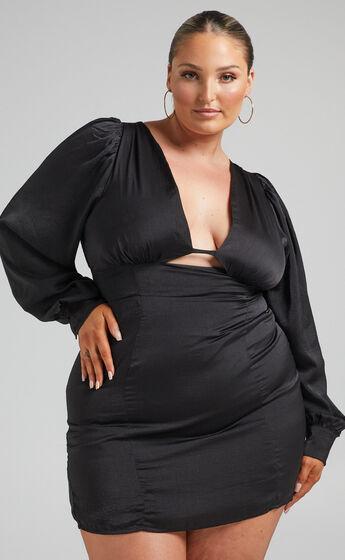 Abarca Panelled Balloon Sleeve Mini Dress in Black