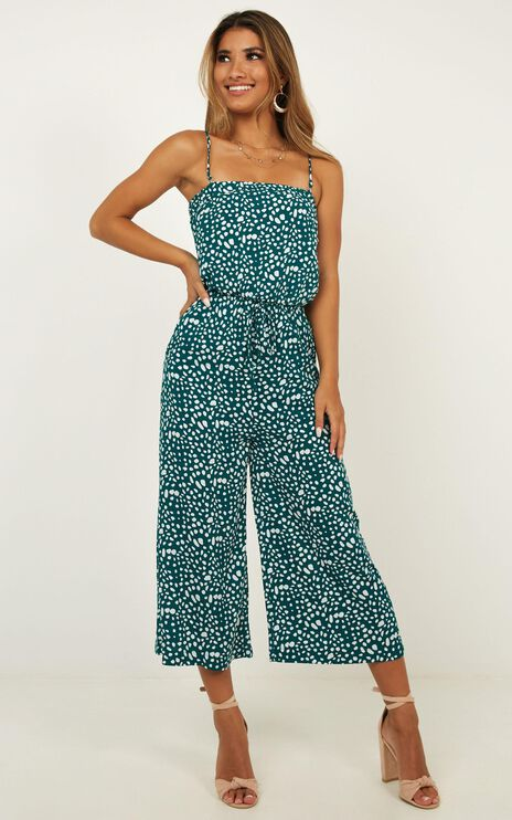 Move Yourself To Dance Jumpsuit In Emerald Print