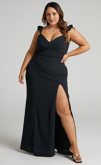 More Than This Ruffle Strap Maxi Dress in Black