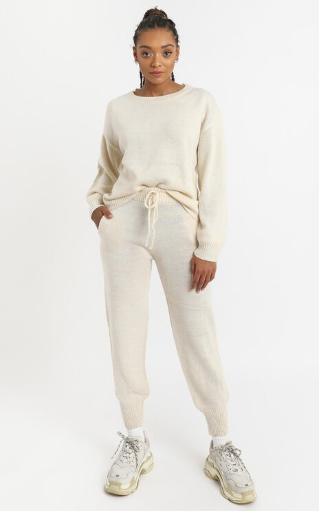 Riona Knit Two Piece Set in Cream