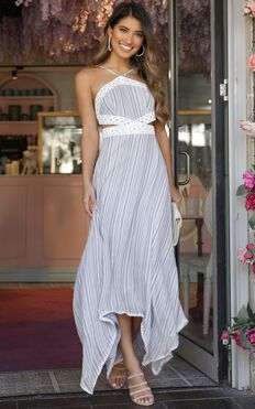 Into My Arms Dress In Blue Stripe