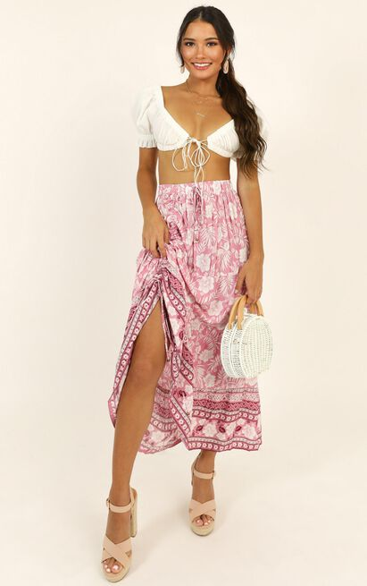 A World Apart Skirt in pink print - 14 (XL), Pink, hi-res image number null