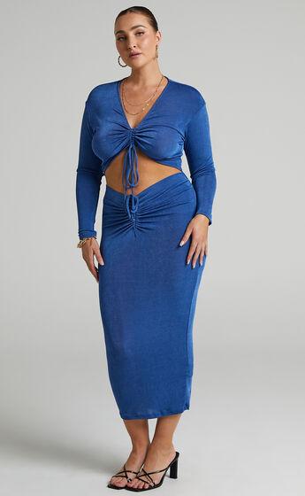 Luciana Rouched V Waist Skirt in Cobalt