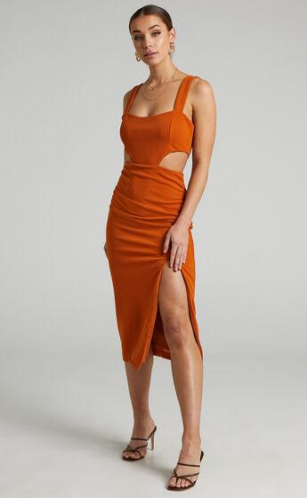 Milah Square Neck Cut Out Midi Dress in Burnt Orange
