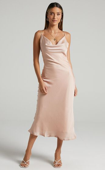 Malmuira Dress in Champagne Satin
