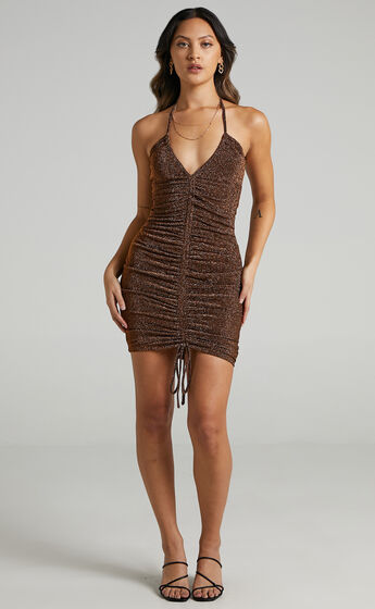 Carissa Ruched Mini Dress in Copper Lurex