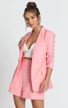 Hollywood Boulevard Button Up Blazer In Pink
