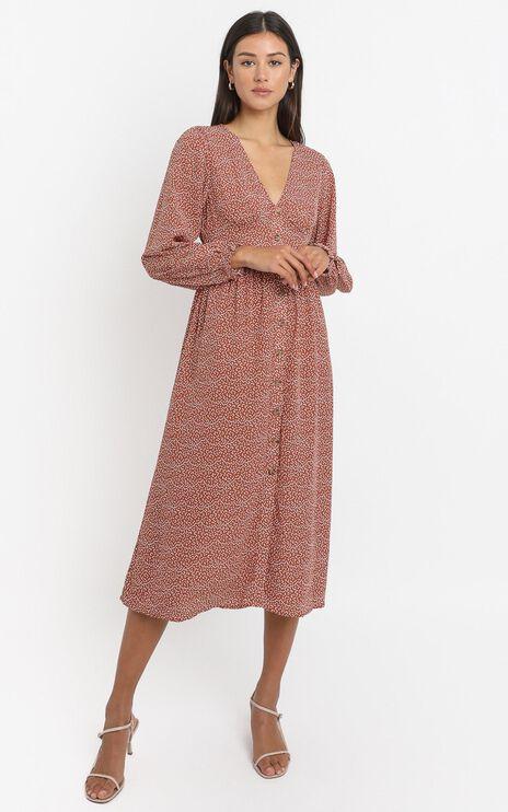 Matilde Dress in Rust Print