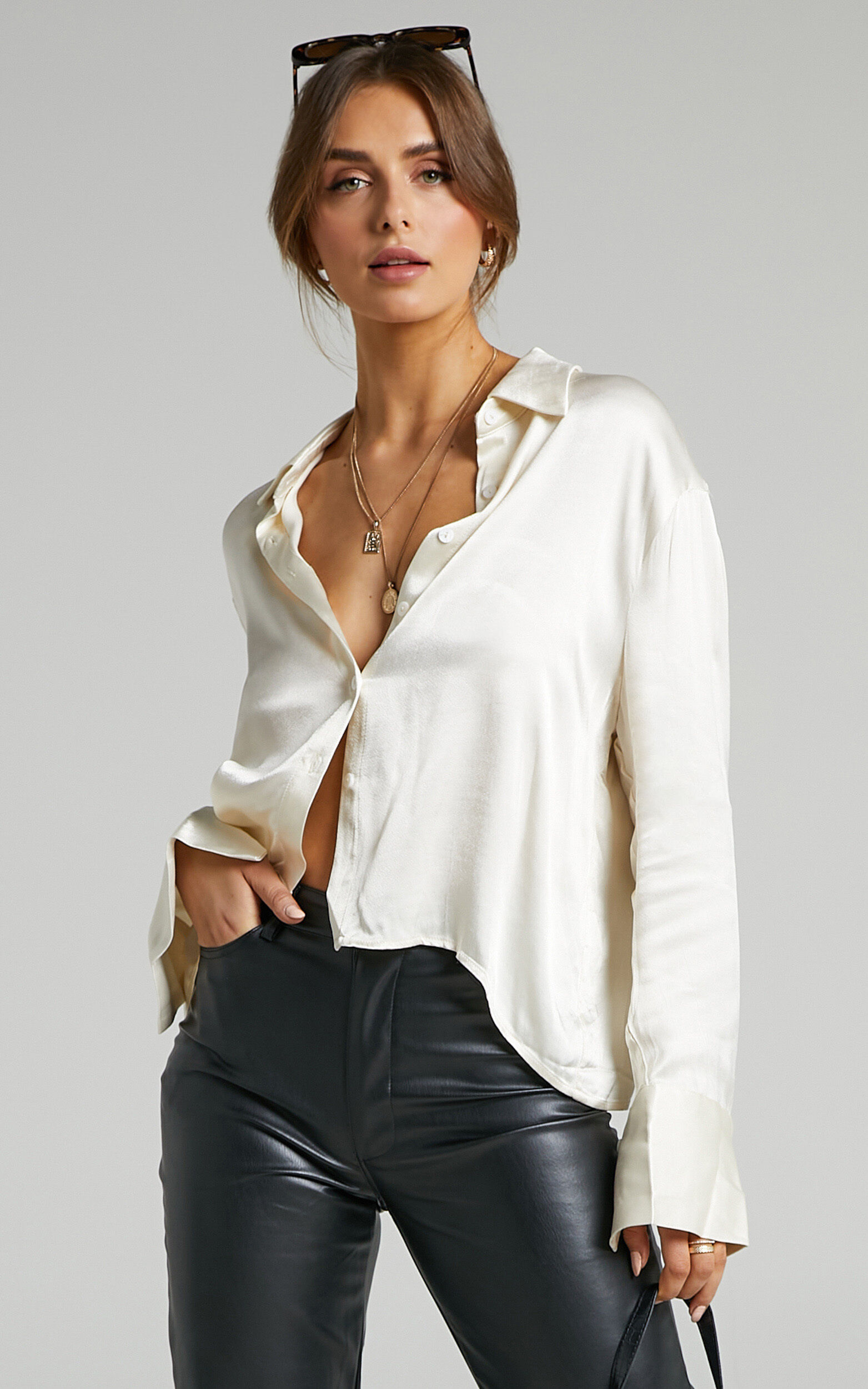 SNDYS - Rising Star Satin Shirt in Champagne - L, NEU2, super-hi-res image number null