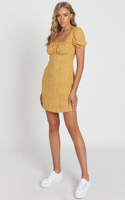 Local Celebrity Dress in mustard floral - 20 (XXXXL), Mustard, hi-res image number null