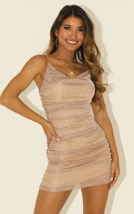 Finding Love Dress In Rose Gold Lurex