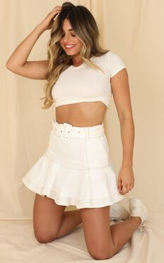 Longest Wave Denim Skirt In White
