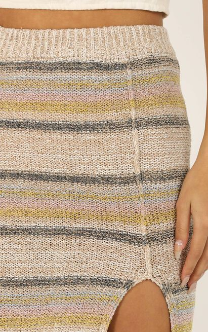 Explain Every Detail knit skirt in cream stripe - 12 (L), Cream, hi-res image number null