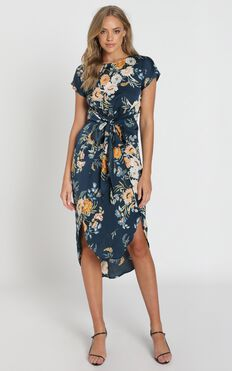 Woman In Power Dress in Navy Floral