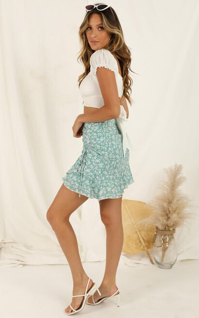 Country Garden Skirt In Green Floral - 16 (XXL), Green, hi-res image number null