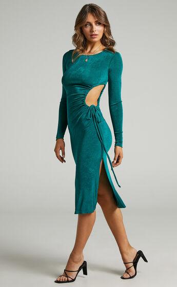 Johara Long Sleeve Side Cut Out Dress in Emerald